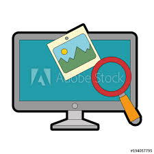 monitor computer with magnifying glass vector ilration design