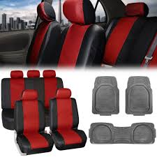 red black pu leather seat covers for auto w all weather gray floor mats 0