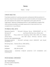 Wintel L1 Sample Resume Microsoft Windows Operating System