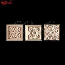 wood appliques for furniture. 12*12CM Wood Floral Carving Applique Home Carved Appliques For Furniture Decorative Door Cabinet