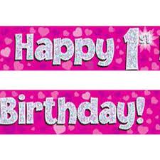 1st birthday banner pink silver holographic happy 1st birthday banner