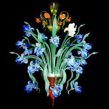 iris blu 24 lights murano glass chandelier