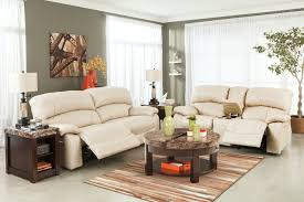 Quality Living Room Furniture Cream Leather Power Reclining Sofa Top Grain Leather Seating High