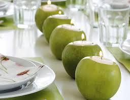 Creative Idea:Fresh Green Candle Holder Apples Table Decorations Fresh  Green Candle Holder Apples Table