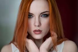 Tapety Tvář ženy Ryšavý Portrét Dlouhé Vlasy Zelené Oči