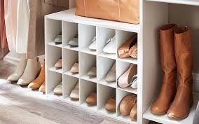 shoe storage shelves in a closet