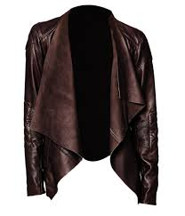 waterfall front and quilt detail leather jacket