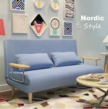nordic design simple fabric solid wood 3 seater sofa bed 120cm wide