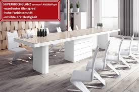 Design Esstisch He 777 Cappuccino Weiß Hochglanz Xxl Ausziehbar
