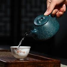 Yixing Teapot Purple Sand Pot All Handmade Authentic Ore Azure Mud Gold Stone Scoop Teapot Blue Shipiao Tea Set