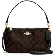 Coach Messico Top Handle Pouch In Signature Crossbody Bag Black Brown    F58321