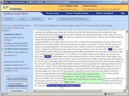 criterion sm online writing evaluation service marcia b waldman when the website evaluates an essay it returns an holistic score and diagnostic feedback users can roll over errors highlighted in the essay to view