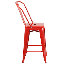 metal counter height stools. 24\u201d High Red Metal Indoor-Outdoor Counter Height Stool With Back Stools A