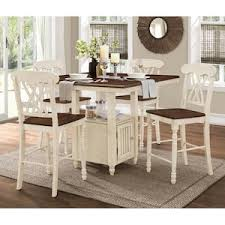 white counter height table. 5-Piece Antique White Counter Height Set Table H