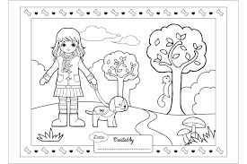 Beautiful dogs of various breeds to color, for children of all ages. Dog Walking Coloring Page