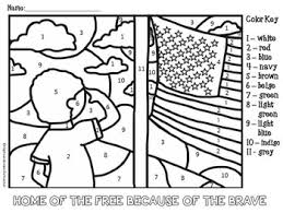 Small Picture Memorial Day and Veterans Day Color by Number Coloring Page