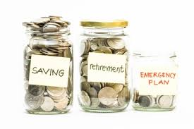 coins in jar with saving retirement and emergency plan labels