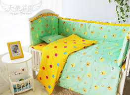 yellow green soft kid cute duck baby bed accessories good quality green yellow crib bedding