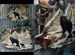 intarsia wood art black bear family solid natural wood wall decor