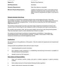Machine Operator Job Description For Resume Aurelianmg Com