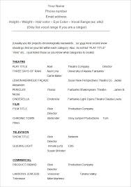 Actress Sample Resumes Stunning Gallery Of Free Cv Template Download For School Leavers Objectives