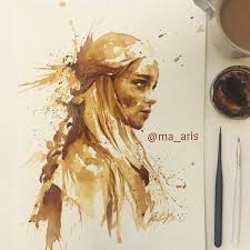 coffee art painting. Interesting Art Mother Of Dragons In Coffee Art Painting R