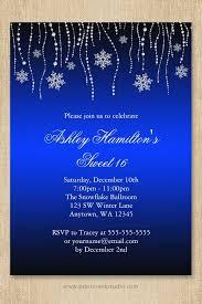 Blue Black Snowflakes Sweet 16 Winter Wonderland Invitation Ker
