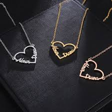 rose gold love heart personalized name necklaces pendants for women stainless steel necklace custom letter jewelry font