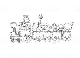 Retro Steampunk Trein Met Dieren Kinderen Kleurplaten Pagina