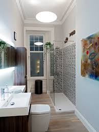 grey small bathroom designs. photo of a small modern shower room in glasgow with two-piece toilet, grey bathroom designs