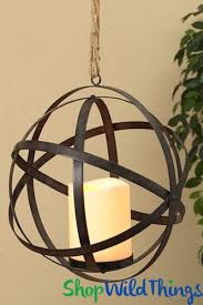 hanging metal sphere flickering led candle w timer 13 1 2 orb folds flat add fls