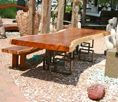 rustic wooden outdoor furniture. Awesome Slab Wooden Dining Table For Room Decoration Ideas : Cute Picture Of Outdoor Rustic Furniture