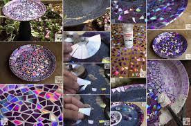 diy mosaic tile birdbath with recycled dvds