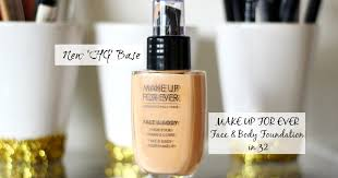 review hg make up for ever face body foundation in 32 the blushing giraffe
