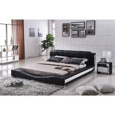 Marquee Contemporary Leather Platform Bed With Led Lights Modern For