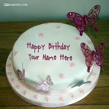 Butterflies Birthday Cake Untuk Anak Perempuan Dengan Nama
