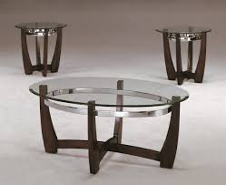 piece modern wood and glass coffee table set
