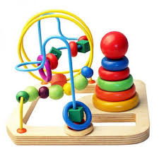 wooden wire bead maze with rainbow stacking ring tower
