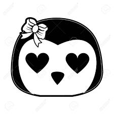 心の目かわいい動物漫画アイコン画像ベクトル イラスト デザイン黒と白の女の子ペンギン