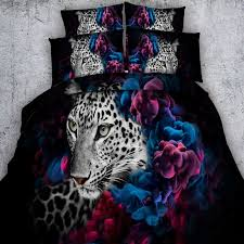 shabby chic black white purple and blue leopard print jungle animal themed twin full queen king size bedding sets