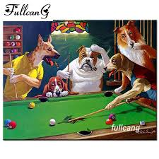 fullcang dogs play snooker mosaic painting diy 5d diamond painting cross stitch full square diamond embroidery