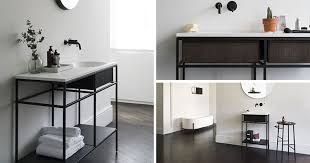 stylish modular wooden bathroom vanity. Norm Architects Have Designed A Collection Of Modular Minimalist Bathroom Consoles That Feature Black Graphic Frames Stylish Wooden Vanity