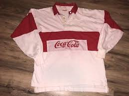 vtg 80s coca cola rugby shirt spell out pink white e polo color block red