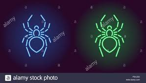 Neon Icon Of Blue And Green Spider Vector Illustration Of Neon