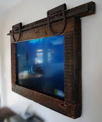 framed tv hanging tv reclaimed barn wood