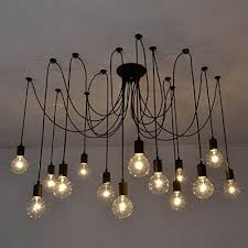 modern industrial lighting fixtures. fuloon vintage edison multiple ajustable diy ceiling spider lamp light pendant lighting chandelier modern chic industrial dining with romote control 14 fixtures e
