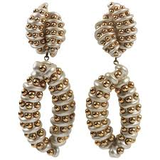 designer jewellians signed oversized chandelier pearly resin clip on earrings for