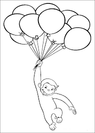 curious george coloring pages balloons