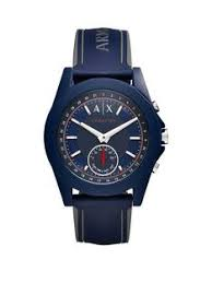 designer mens watches gifts jewellery very co uk armani exchange connected blue dial blue silicone smart watch