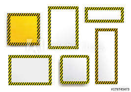 Black And Yellow Stripes Border Set Of Warning Striped Rectangular Background Yellow And Black